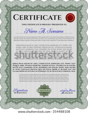 Diploma template or certificate template. Vector pattern that is used in currency and diplomas.Superior design. With guilloche pattern.