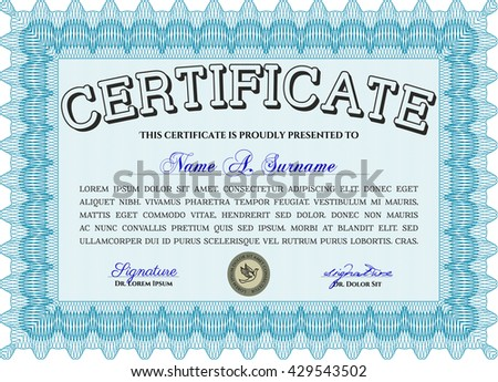 Diploma template or certificate template. Vector pattern that is used in money and certificate. With quality background. Beauty design. Light blue color.