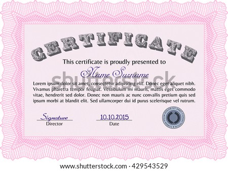 Diploma template or certificate template. Vector pattern that is used in money and certificate. With quality background. Beauty design. Pink color.