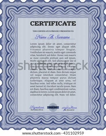 Diploma template or certificate template. Vector pattern that is used in money and certificate. With quality background. Artistry design. Blue color.