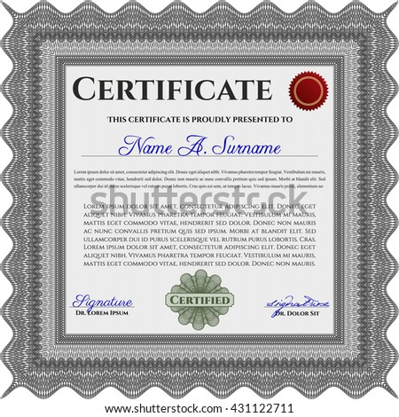 Diploma template or certificate template. Vector pattern that is used in money and certificate. With quality background. Beauty design. Grey color.