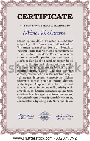 Diploma template or certificate template. With complex linear background. Border, frame.Modern design.