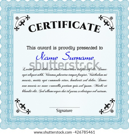 Diploma template or certificate template. With quality background. Artistry design. Vector pattern that is used in money and certificate. Light blue color.