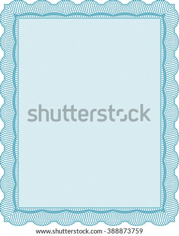Diploma template or certificate template. With quality background. Beauty design. Vector pattern that is used in money and certificate. Light blue color.