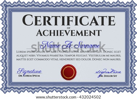 Diploma template or certificate template. With quality background. Beauty design. Vector pattern that is used in money and certificate. Blue color.
