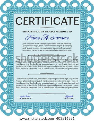 Diploma template or certificate template. With quality background. Vector pattern that is used in money and certificate. Beauty design. Light blue color.