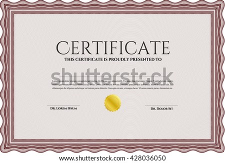 Diploma template or certificate template. With quality background. Vector pattern that is used in money and certificate. Artistry design. Red color.