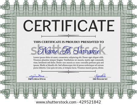 Diploma template or certificate template. With quality background. Vector pattern that is used in money and certificate. Artistry design. Green color.