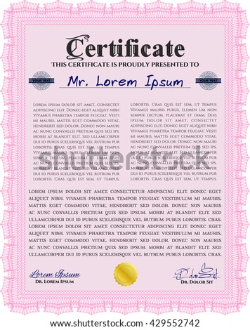 Diploma template. With background. Border, frame. Excellent design. Pink color.