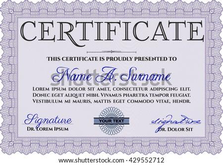 Diploma template. With background. Border, frame. Excellent design. Violet color.