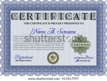 Diploma template. With complex background. Excellent design. Vector illustration. Blue color.