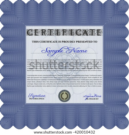 Diploma template. With complex background. Lovely design. Vector illustration. Blue color.