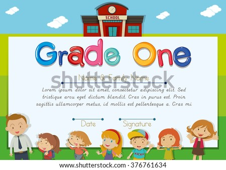 Diploma template with teacher and children in background illustration
