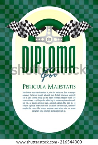 Diploma with a retro motif of the steering wheel and starting board for the winner of motor sport, motor-sports championship race go-karts, auto veteran, veteran race, historic car ride, cars, trucks