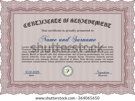 Diploma. With linear background. Elegant design. Vector pattern that is used in money and certificate.