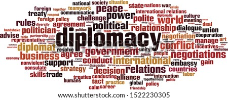 Diplomacy word cloud concept. Collage made of words about diplomacy. Vector illustration  Photo stock ©