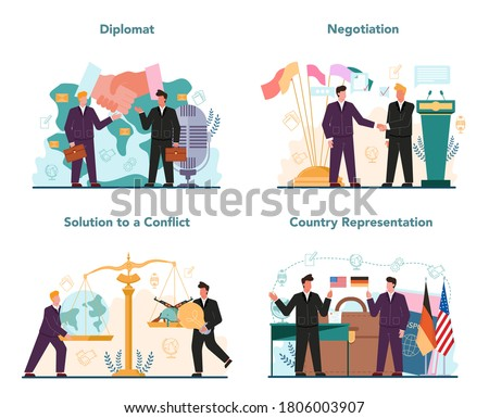 Diplomat profession set. Idea of international relations and government. Country worldwide representation. Negotiation, confflict solution. Isolated vector illustration Сток-фото ©