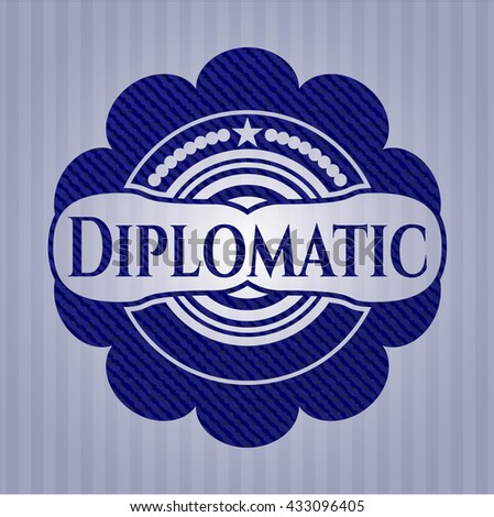 Diplomatic badge with denim background