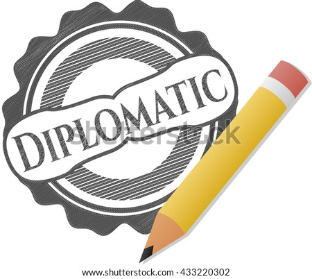 Diplomatic emblem draw with pencil effect