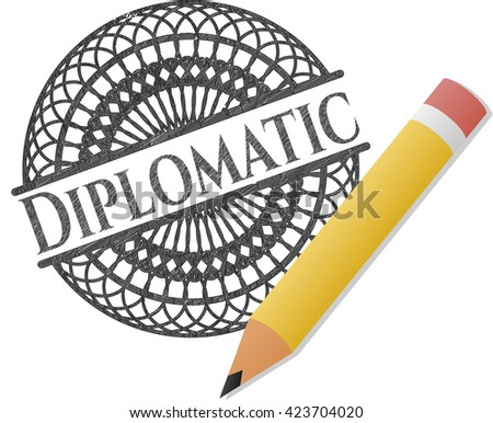 Diplomatic emblem with pencil effect