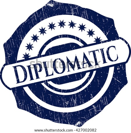 Diplomatic rubber seal with grunge texture
