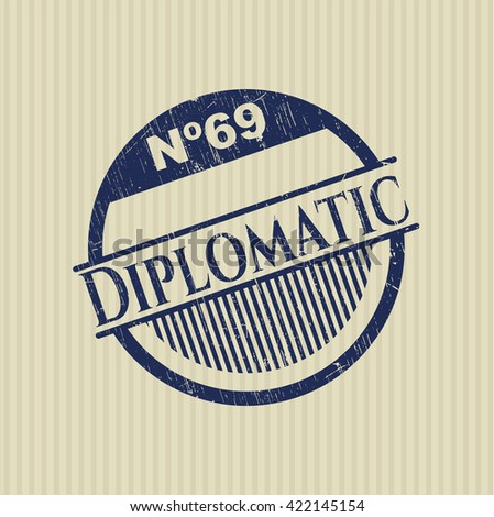 Diplomatic rubber stamp with grunge texture
