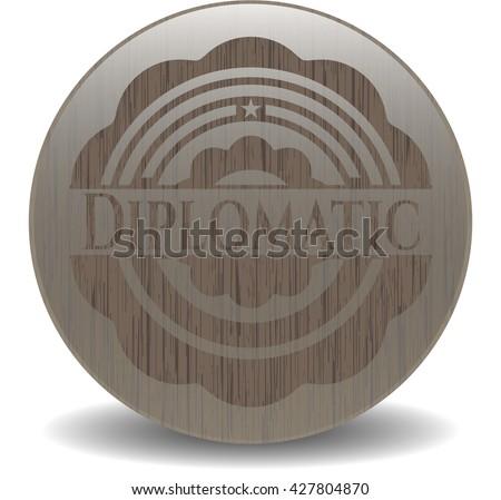 Diplomatic wooden emblem. Retro