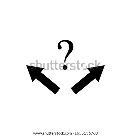 direction arrow choices and question mark, left, right or move forward. Vector sign