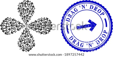 Direction arrow curl burst, and blue round DRAG 'N' DROP textured stamp print with icon inside. Element flower with 4 petals done from oriented direction arrow symbols. Foto stock ©