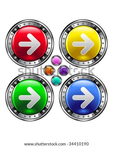 Direction arrow icon on round colorful vector buttons suitable for use on websites, in print materials or in advertisements.  Set includes red, yellow, green, and blue versions.