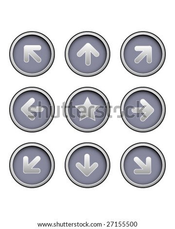 Direction arrow icons on modern vector button set