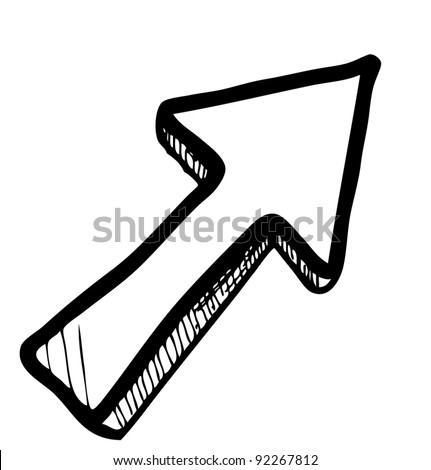Direction arrow sketch vector illustration
