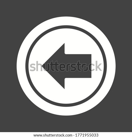 Direction Arrowhead symbol. Gray flat button. Left arrow icon. Navigation pointer sign. Classic flat left arrow icon