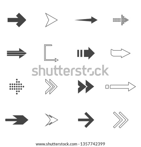 direction arrows icons set. road signs icons set. Vector illustration #1357742399