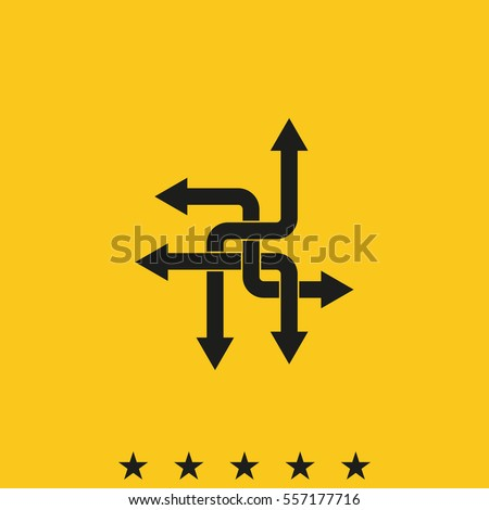 Direction arrows sign. Movement in an unknown or alternative path. Uncertainty choice. Intersection of opportunities vector icon.