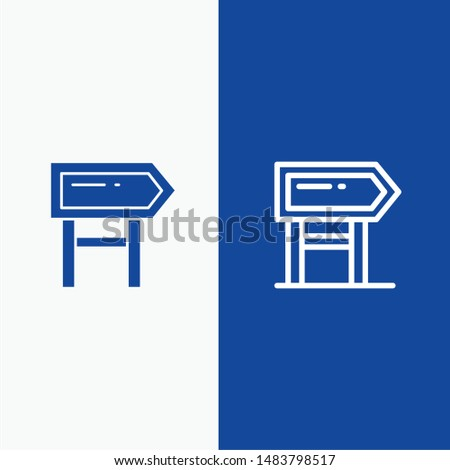 Direction, Board, Location, Motivation Line and Glyph Solid icon Blue banner Line and Glyph Solid icon Blue banner