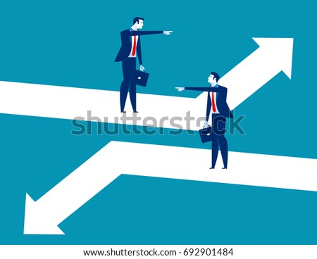 Direction. Business person pointing to different direction. Concept business vector illustration.