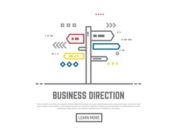 Direction choosing concept. Flat vector line style roadside signpost illustration. Arrows and lines navigation. Road way sign boards on pole. Crossroad with destination choice. Text and button.