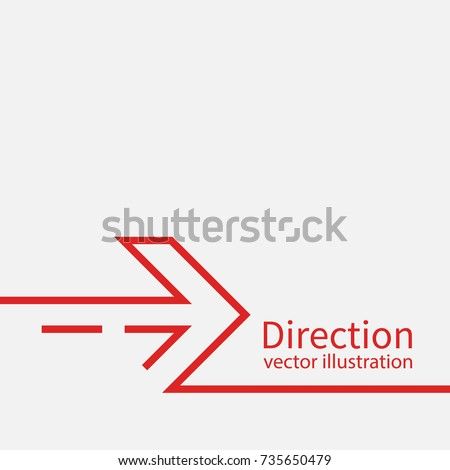 Direction concept. Abstract arrow minimal design line. Template banner, space for text. Vector illustration flat design. Isolated on white background.
