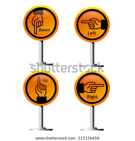 direction hand symbols on yellow signs