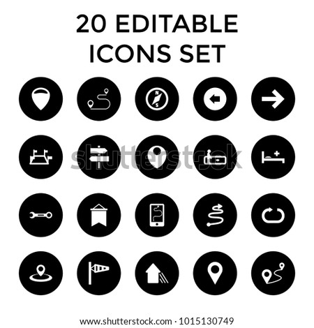 Direction icons. set of 20 editable filled direction icons such as escalator, arrow left, wind cone, location, distance. best quality direction elements in trendy style.