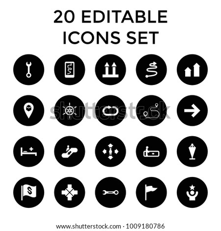 Direction icons. set of 20 editable filled direction icons such as escalator, arrow up, flag, man move, wrench. best quality direction elements in trendy style.