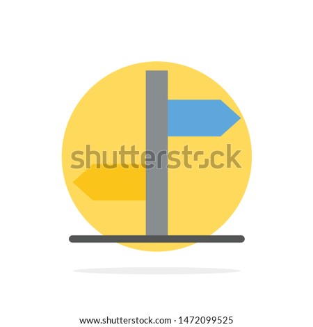 Direction, Logistic, Board, Sign Abstract Circle Background Flat color Icon Zdjęcia stock ©