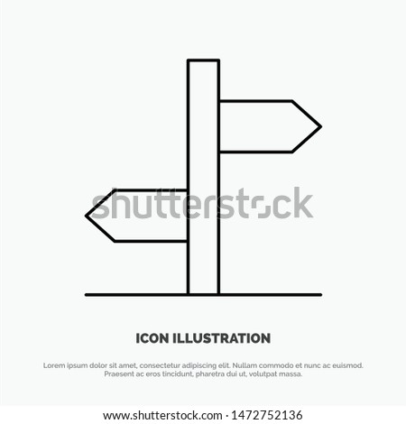 Direction, Logistic, Board, Sign Line Icon Vector Zdjęcia stock ©