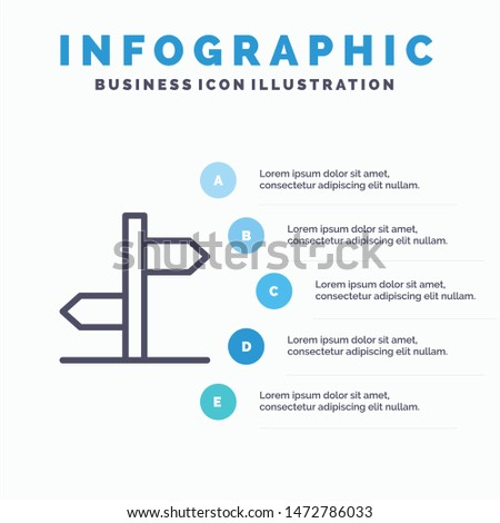 Direction, Logistic, Board, Sign Line icon with 5 steps presentation infographics Background Zdjęcia stock ©