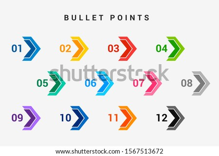 Direction number bullet points from one to twelve Stock foto ©