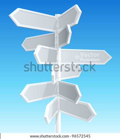 Direction road signs — arrows on blue sky. Vector illustration.