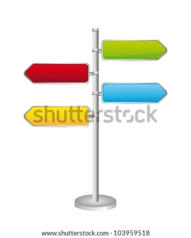 Direction road signs isolated over white background. vector