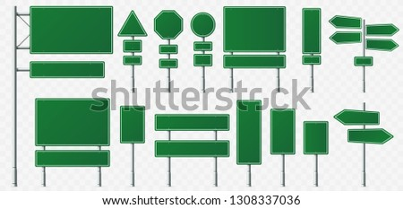 Direction sign board. Road destination signs, street signage boards and green directing signboard pointer. City roads guide signpost. Isolated vector illustration symbols set