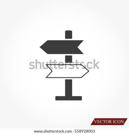 Direction sign vector icon.